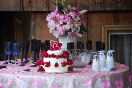 Wedding cake and bouquet.