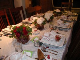 Shoultz Christmas in Homer with peonies from NZ.